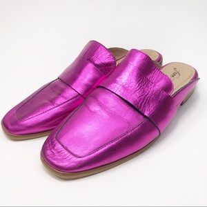 Free People Metallic Pink Slip On Mule Loafers
